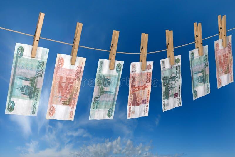 Zerknitterte Banknote von den Rubeln, zum auf den Seilkleidungsstiften zu trocknen befestigt stock abbildung