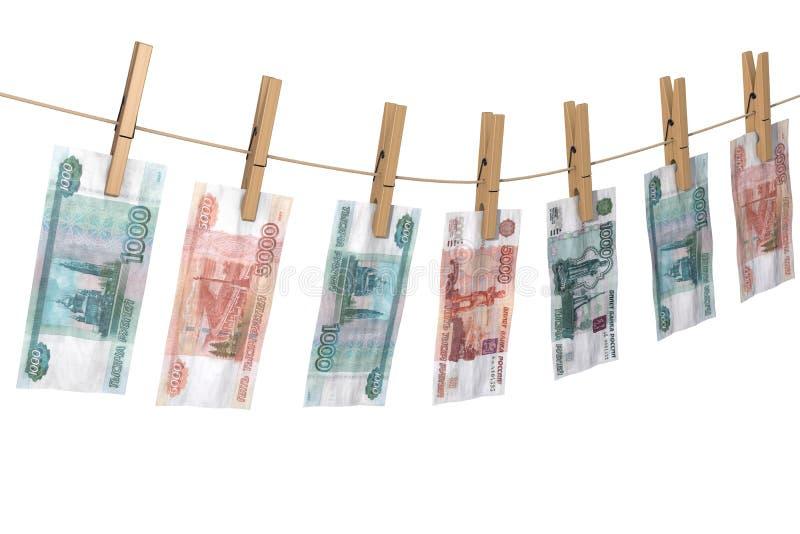 Zerknitterte Banknote von den Rubeln, zum auf den Seilkleidungsstiften zu trocknen befestigt lizenzfreie abbildung