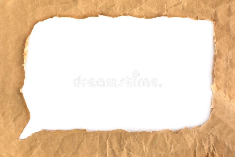 Zerknitterte Blase des braunen Papiers des Schmutzes lokalisiert stockfoto