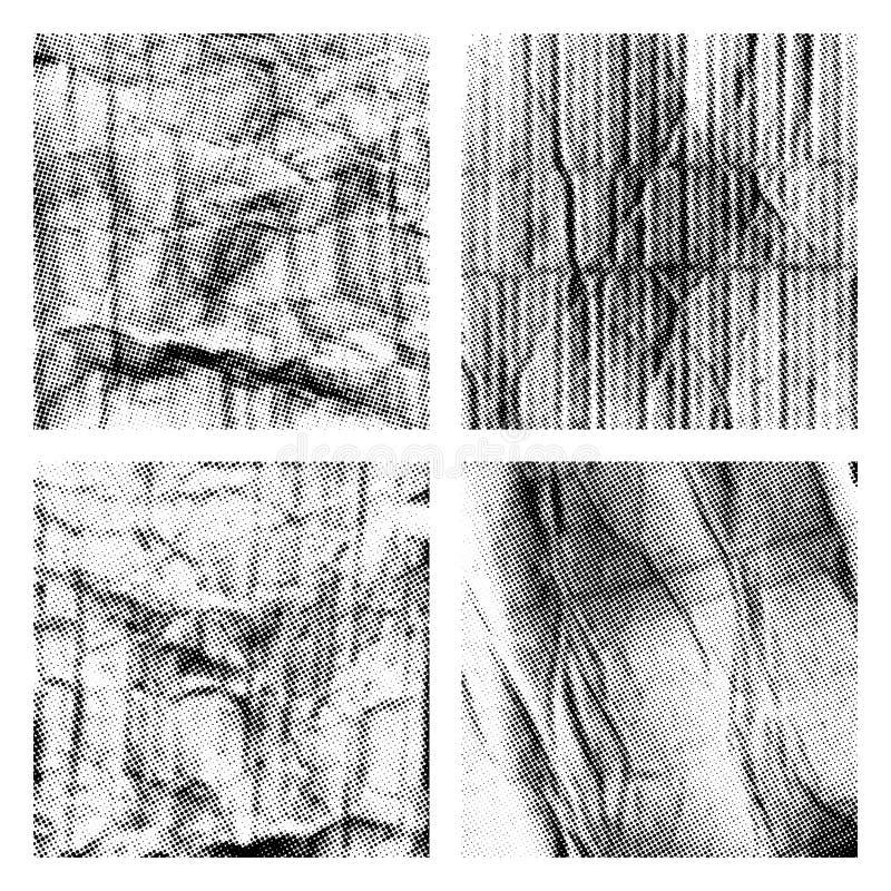 Zerknitterte Papierbeschaffenheiten eingestellt mit Halbton vektor abbildung