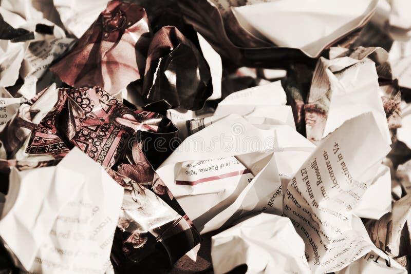Zerknitterte Papiere, Hintergrund stockfoto