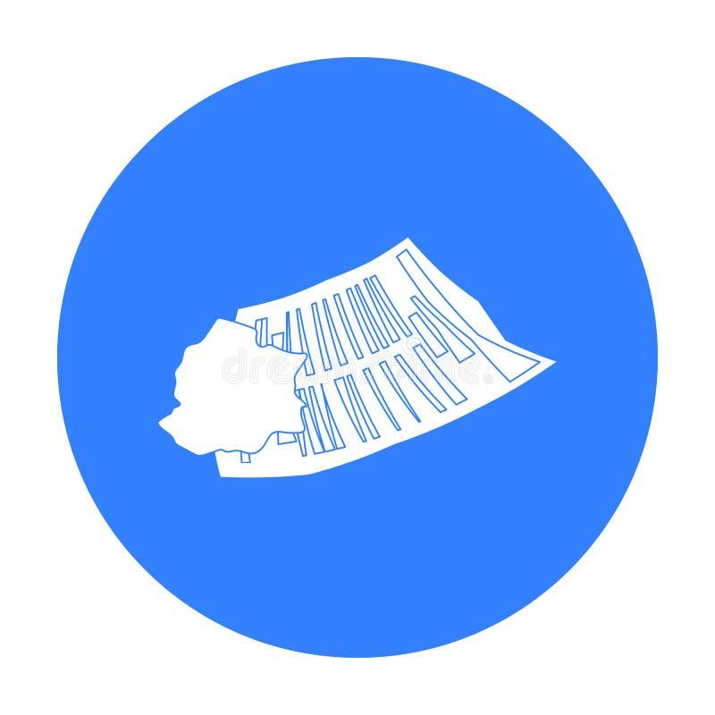Zerknitterte Papierikone in der schwarzen Art lokalisiert auf weißem Hintergrund Abfall- und Abfallsymbolvorrat-Vektorillustratio lizenzfreie abbildung