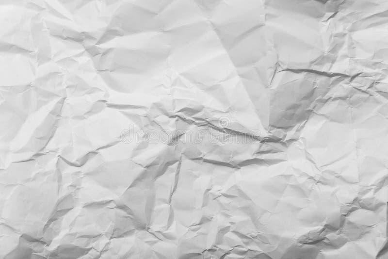 Zerknitterte Weißbuchhintergrundbeschaffenheit, Abschluss oben stockbilder