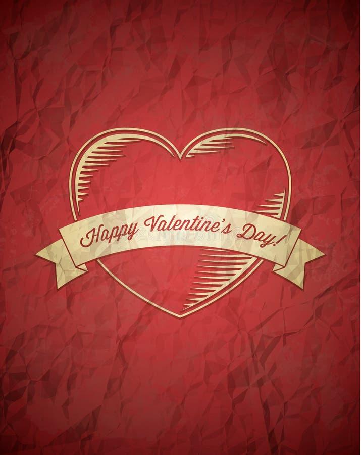 Zerknitterte Weinlese Valentinsgruß-Tageskarte vektor abbildung