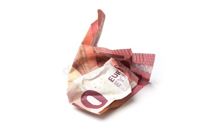 zerknitterte zehn-Euro-Banknote auf weißem Hintergrund lizenzfreies stockfoto