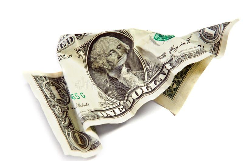 Zerknitterter geknitterter Dollar stockbilder