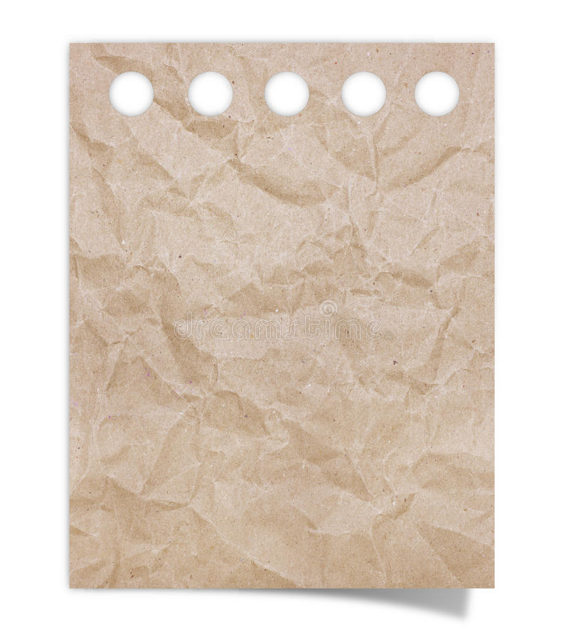 Zerknittertes braunes Briefpapier lizenzfreie stockbilder
