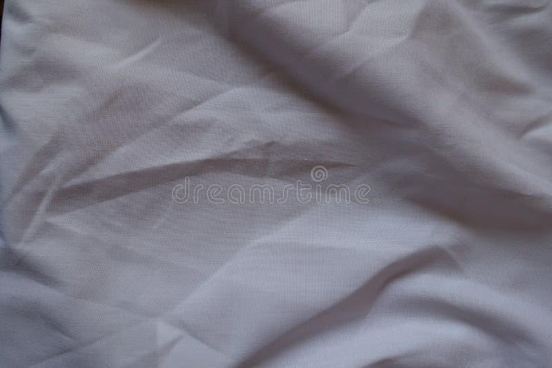 Zerknittertes einfaches Baumwollgewebe von oben stockfotografie