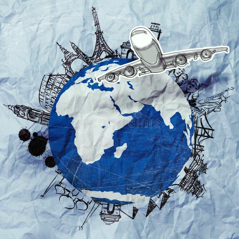 Zerknittertes Papier und als Weinleseart auf der ganzen Welt reisen stock abbildung