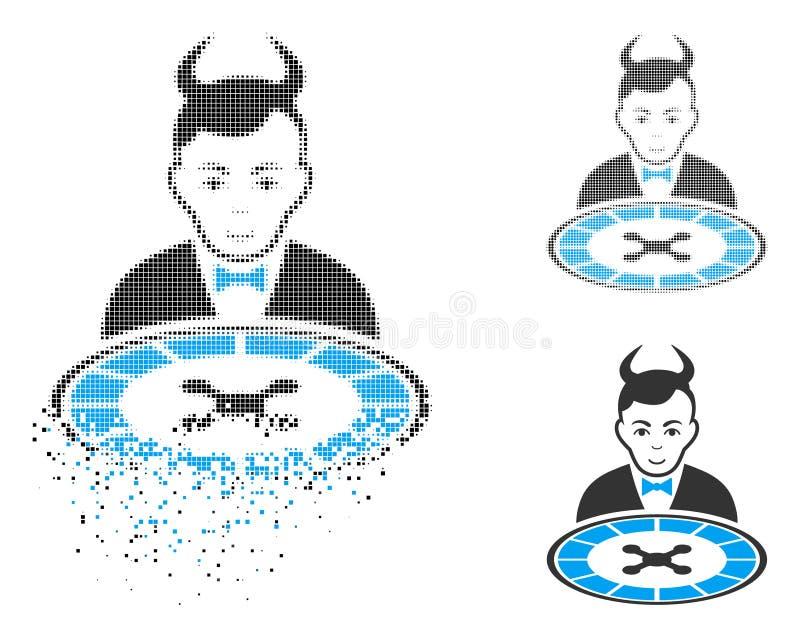 Zerlegte Dot Halftone Devil Roulette Dealer-Ikone mit Gesicht lizenzfreie abbildung