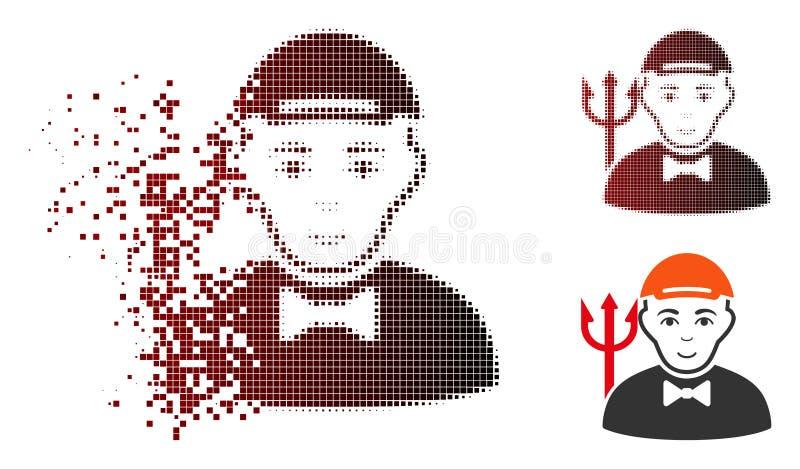 Zerlegter Dot Halftone Daemon Icon vektor abbildung
