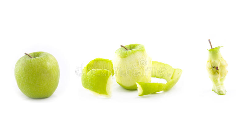Zerlegung eines Apfels stockbild