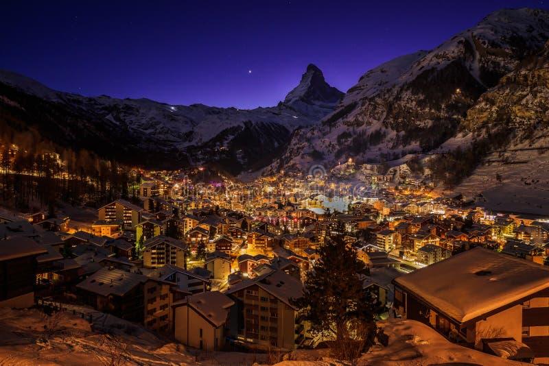 Zermatt in Cold Winter Night - Switzerland. Zermatt Cold Night in Switzerland and Matterhorn Mountain in the Background royalty free stock images