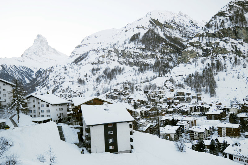 Zermatt Dorf im Winter stockfoto