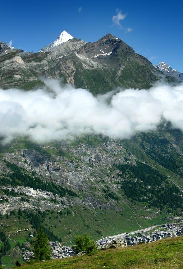 Zermatt ski resort and Weisshorn in Switzerland stock photos