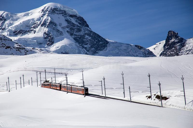 Gornergrat Train in Matterhorn Skiing Area royalty free stock photo