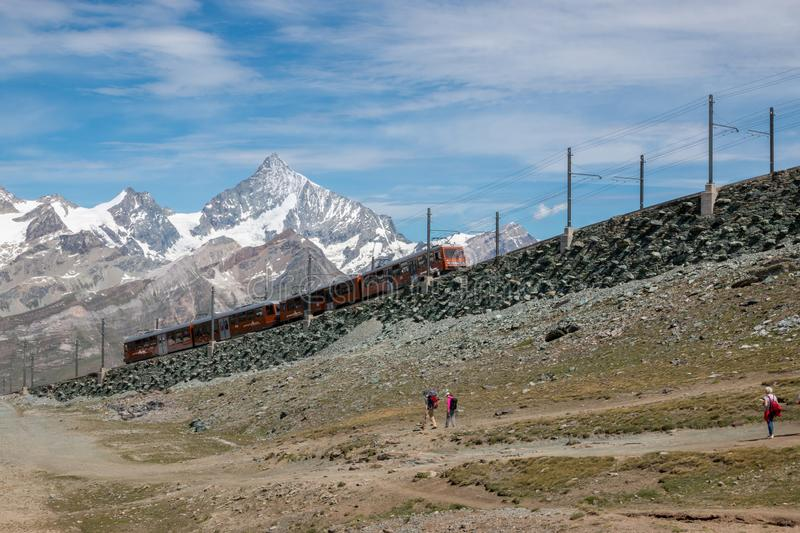 Gornergrat train with tourist is going to Matterhorn mountain stock photos