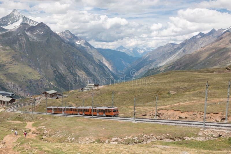 Gornergrat train with tourist is going to Matterhorn mountain royalty free stock image