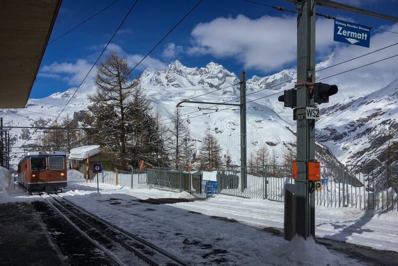 Gornergrath railway Gornergratbahn approching Riffelalp statio royalty free stock images