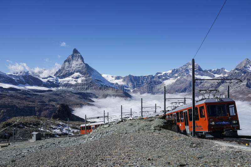 Zermatt, Switzerland - October 8, 2016: The travel train to Gone stock photo