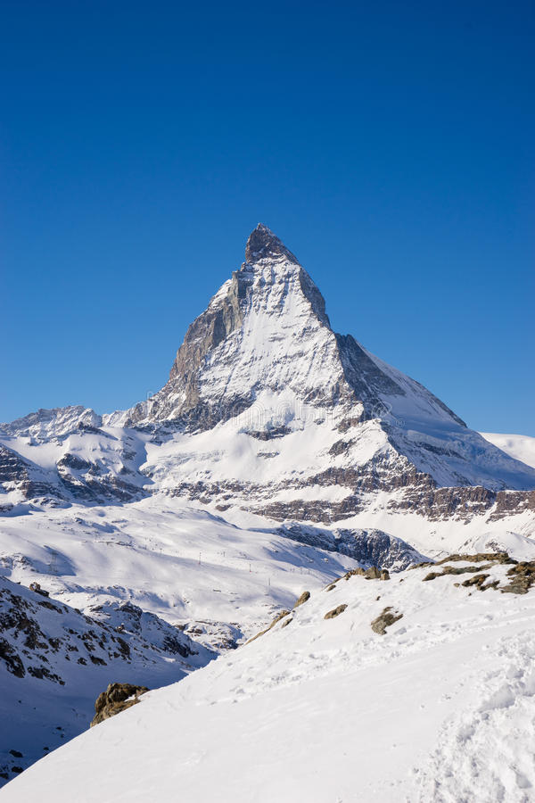 Zermatt, Zwitserland, matterhorn, skitoevlucht stock fotografie
