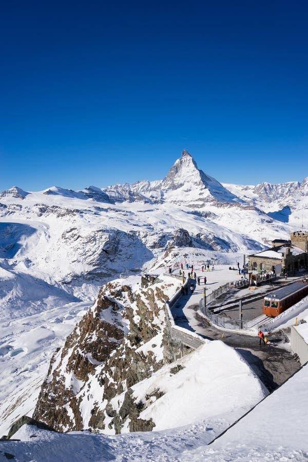 Zermatt, Zwitserland, matterhorn, skitoevlucht stock foto