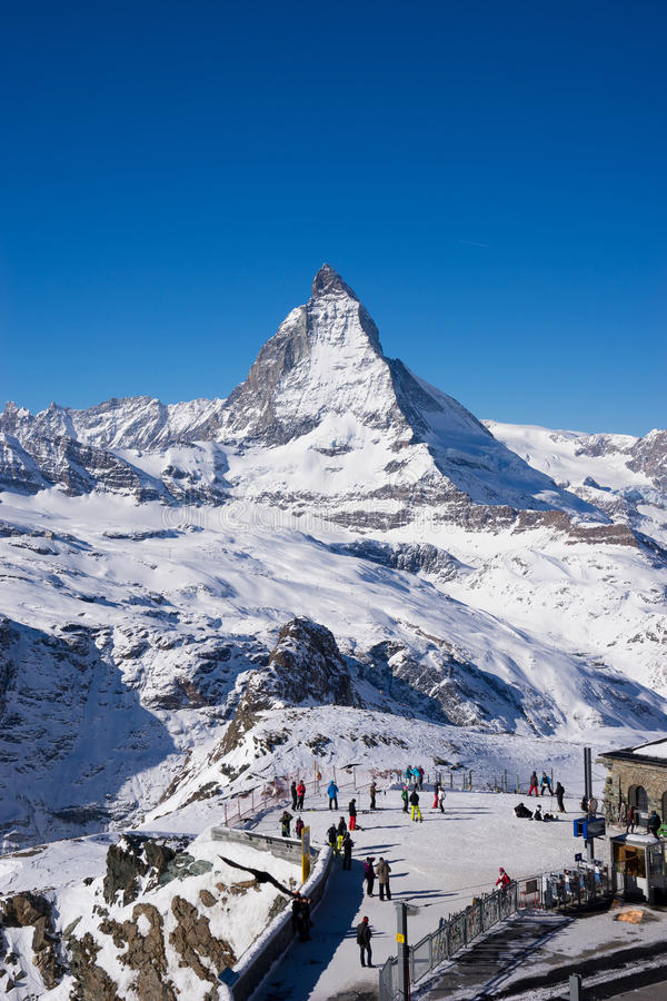 Zermatt, Zwitserland, matterhorn, skitoevlucht stock afbeelding