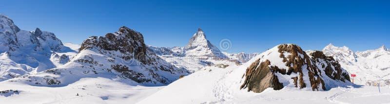 Zermatt, Zwitserland, matterhorn, skitoevlucht royalty-vrije stock afbeelding