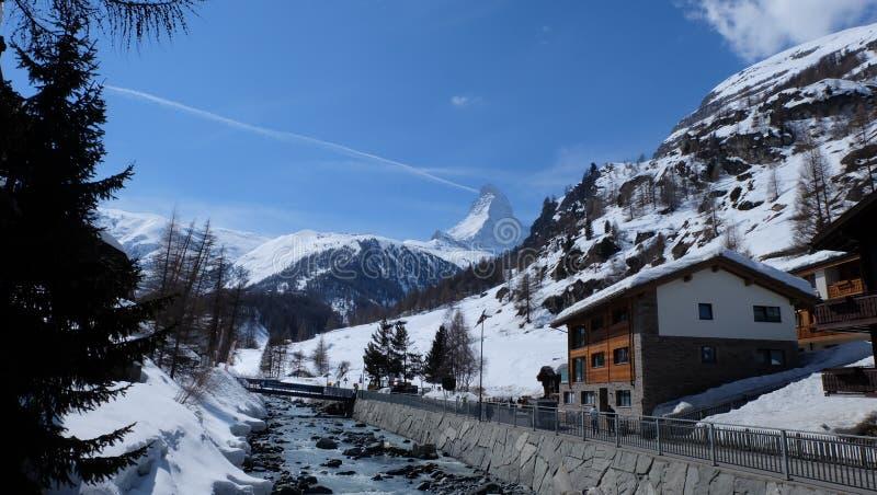 Zermatt, Zwitserse Hotels Switzerland stock fotografie