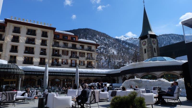 Zermatt, Zwitserse Hotels Switzerland royalty-vrije stock foto