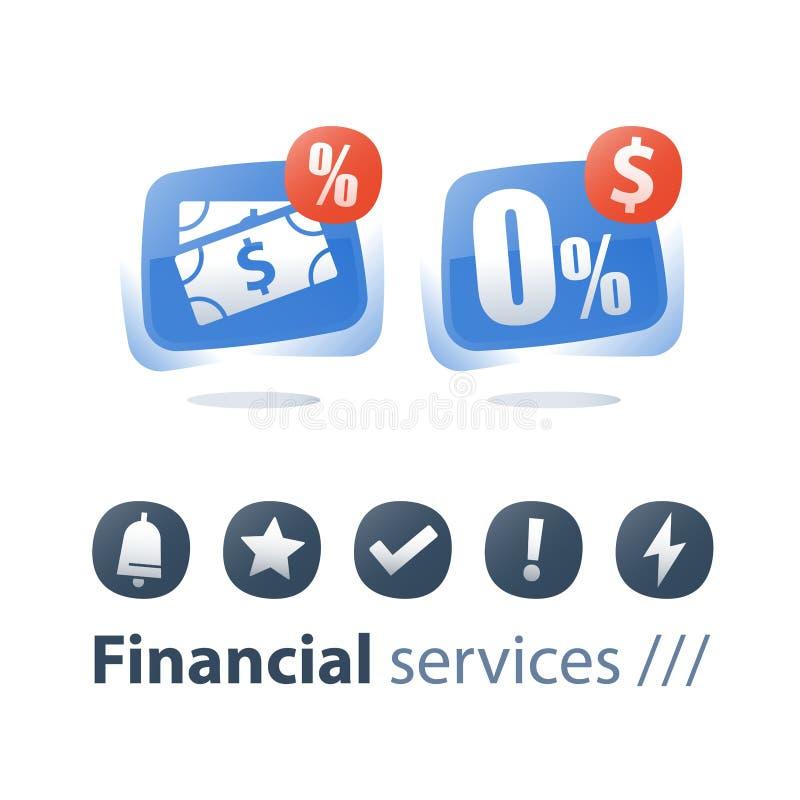 Zero комиссия, процентная ставка, заем наличных денег, рассрочка ипотечного платежа, финансовое обслуживание, сохраняет деньги, п бесплатная иллюстрация