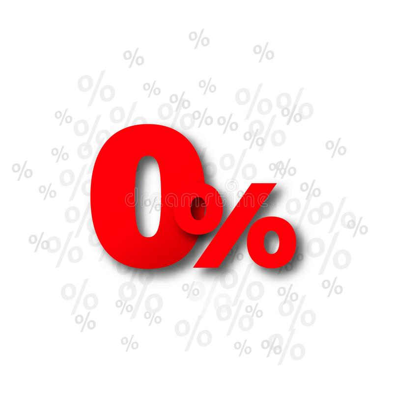 Zero предложение процента процентов иллюстрация вектора