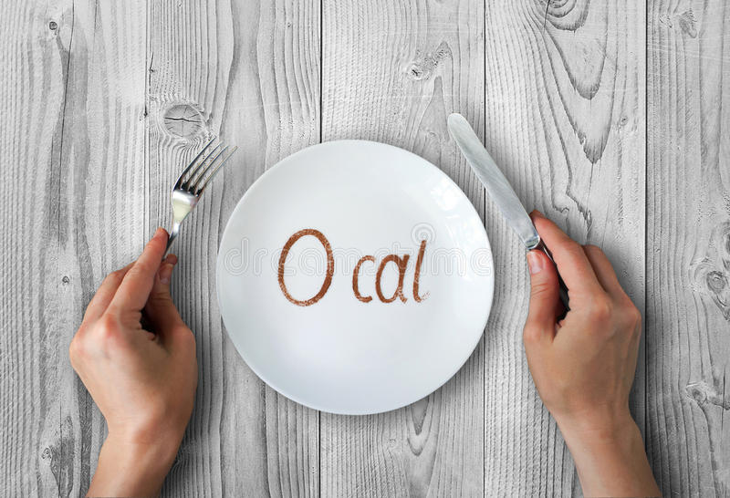 Zero calories. Concept photo with empty dish royalty free stock images