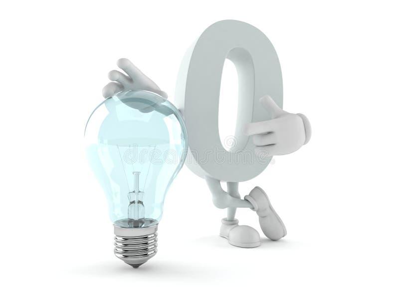 Zero character with light bulb stock illustration