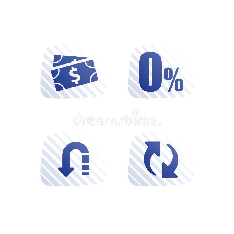 Zero commission, interest rate, cash loan, mortgage payment installment, financial service, save money, refinance concept vector illustration