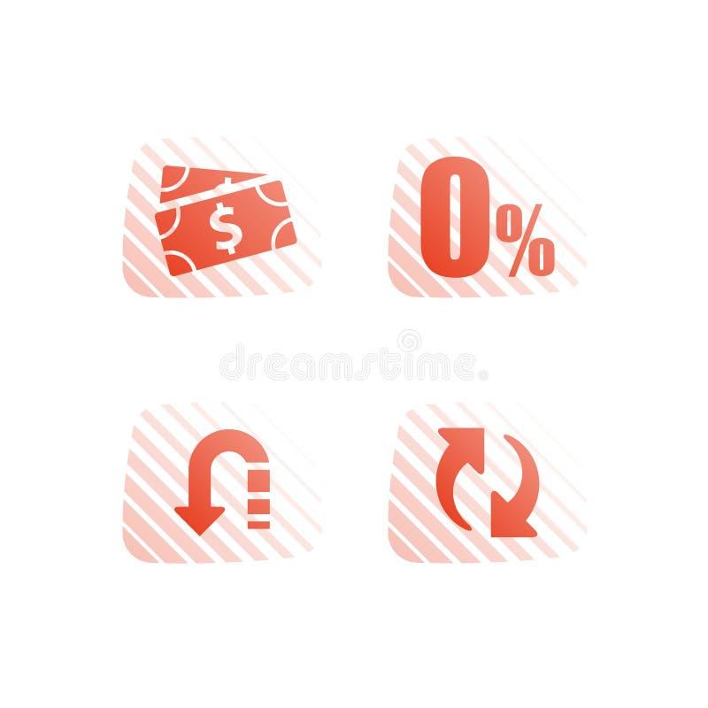 Zero commission, interest rate, cash loan, mortgage payment installment, financial service, save money, refinance concept stock illustration
