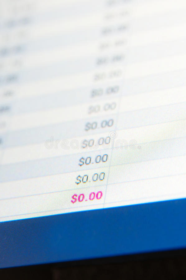 Zero dollars. Column with zero dollars on an lcd screen stock images