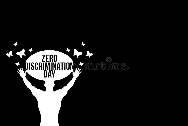 Zero dyskryminacja dnia ilustracji z motylem z czarnym tłem z białą ilustracją ilustracja wektor