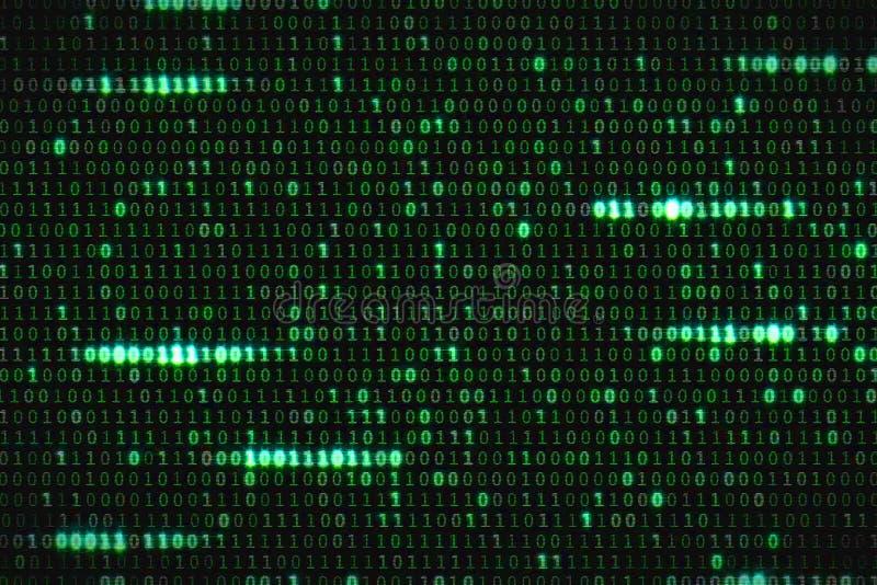 Zero e uns códigos digitais binários verdes, fundo sem emenda gerado por computador do movimento do sumário do laço, nova tecnolo foto de stock