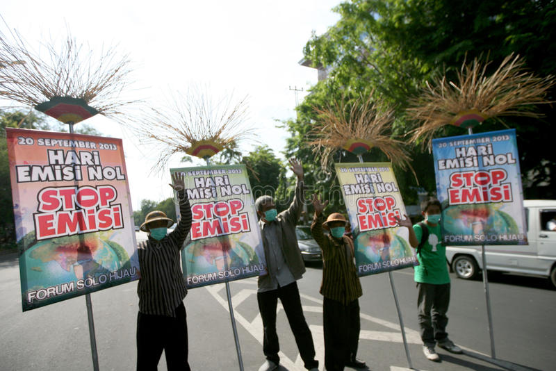 Zero emission. Residents protested the day commemorating zero emissions in the city of Solo, Central Java, Indonesia royalty free stock photo