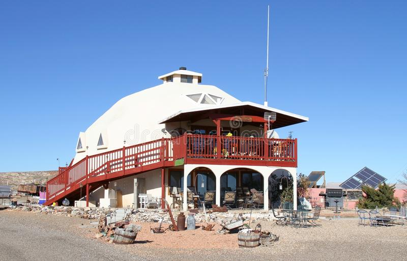 USA, Utah: Zero-energy House. This house in Big Water, Utah/USA is not connected to the electric grid but is self-sufficient, using solar panels as source of stock photo
