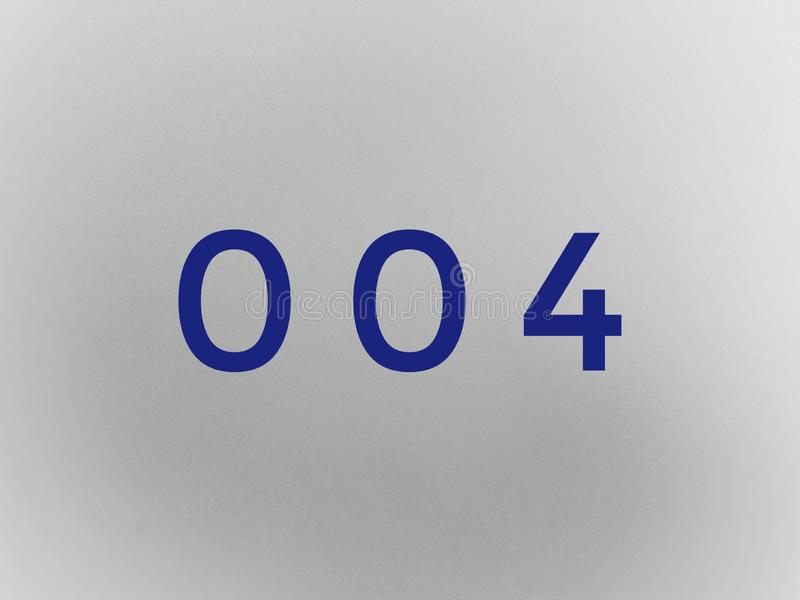 Zero zero four 004 digits in black color royalty free stock photography
