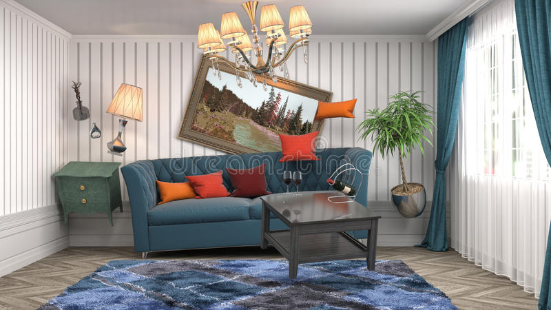 Zero Gravity Sofa hovering in living room. 3D Illustration royalty free illustration