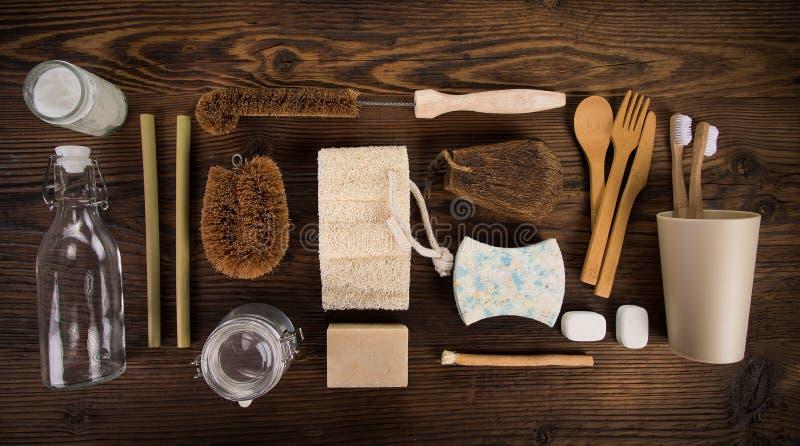 Zero jałowych jedzeń i innych czyści narzędzia Podtrzymywalny stylu życia pojęcie zdjęcie royalty free