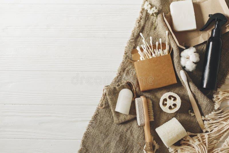 Zero jałowy pojęcie, podtrzymywalny stylu życia mieszkanie nieatutowy Naturalny Eco obrazy stock