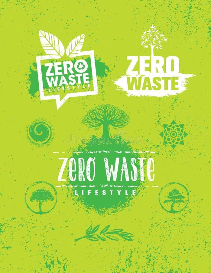 Zero jałowych styl życia Podtrzymywalny Kreatywnie Wektorowy Eco zieleni projekta element Organicznie Życiorys pojęcie fotografia stock