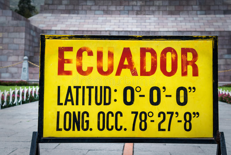 Zero latitude sign at Mitad del Mundo, Ecuador stock photography