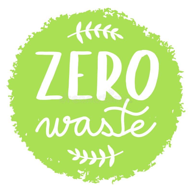 Zero odpadów zieleni odznak lub okrąg obrazy royalty free