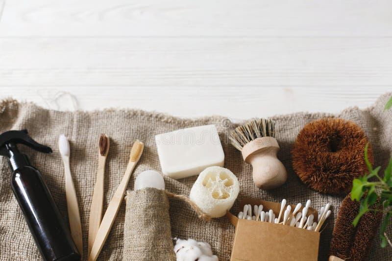 Zero odpady domowe podstawy, klingeryt uwalniają rzeczy eco naturalny bam obraz royalty free