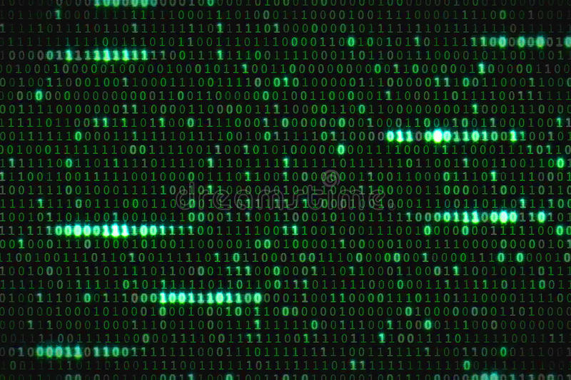 Zero and one green binary digital code, computer generated seamless loop abstract motion background, new technology stock photo